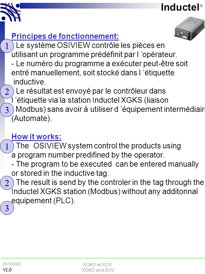 XGKS et XUV XGKS and XUV 25/10/2003 V1.0 Conception d une application sans contact How to design a RFID application Principes de fonctionnement: - Le système OSIVIEW contrôle les pièces en utilisant un programme prédéfinit par l opérateur.