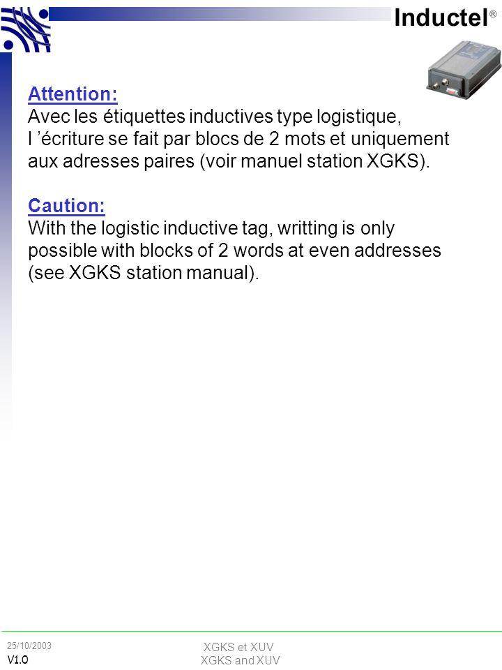 XGKS et XUV XGKS and XUV 25/10/2003 V1.0 Conception d une application sans contact How to design a RFID application Attention: Avec les étiquettes ind