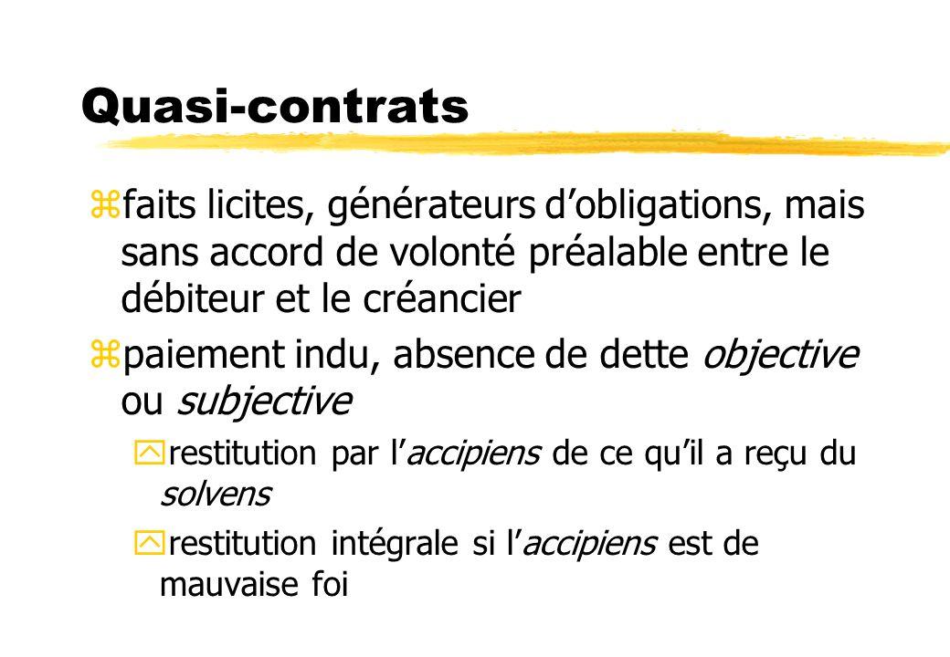 Quasi-contrats zfaits licites, générateurs dobligations, mais sans accord de volonté préalable entre le débiteur et le créancier zpaiement indu, absen