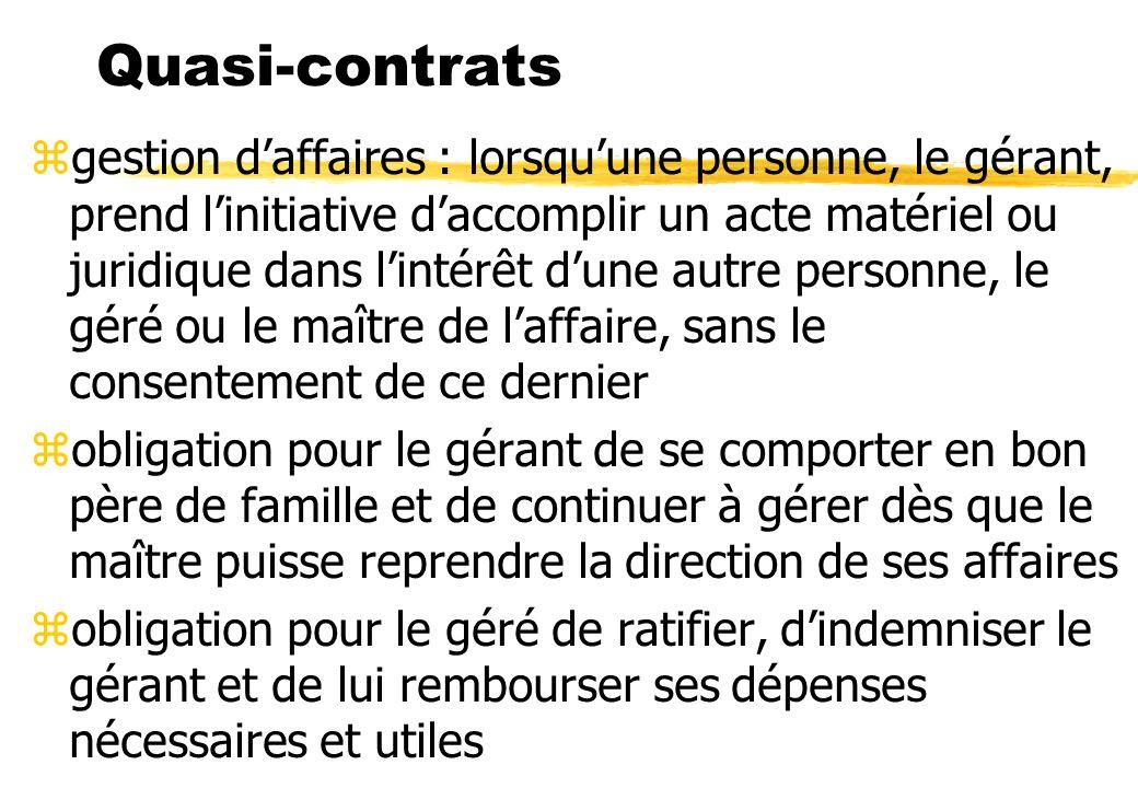 Quasi-contrats zgestion daffaires : lorsquune personne, le gérant, prend linitiative daccomplir un acte matériel ou juridique dans lintérêt dune autre