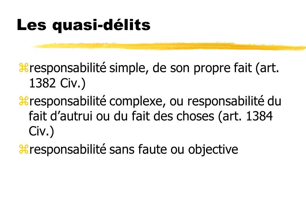 Les quasi-délits zresponsabilité simple, de son propre fait (art. 1382 Civ.) zresponsabilité complexe, ou responsabilité du fait dautrui ou du fait de
