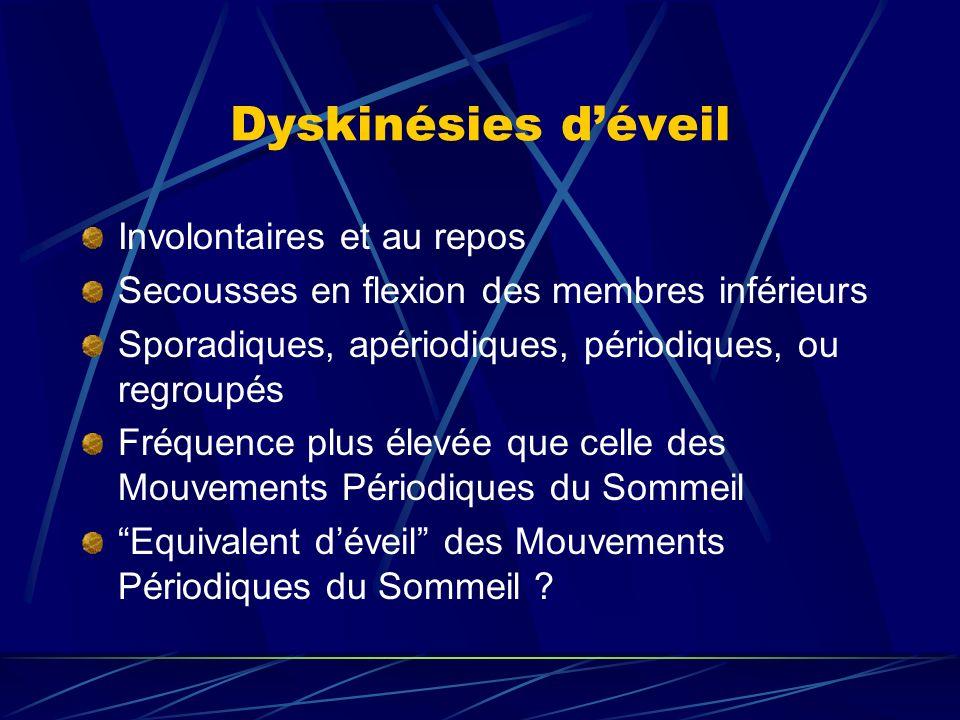 Dyskinésies déveil Involontaires et au repos Secousses en flexion des membres inférieurs Sporadiques, apériodiques, périodiques, ou regroupés Fréquenc