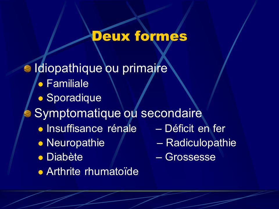 Deux formes Idiopathique ou primaire Familiale Sporadique Symptomatique ou secondaire Insuffisance rénale – Déficit en fer Neuropathie – Radiculopathi