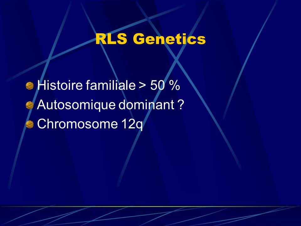 RLS Genetics Histoire familiale > 50 % Autosomique dominant ? Chromosome 12q