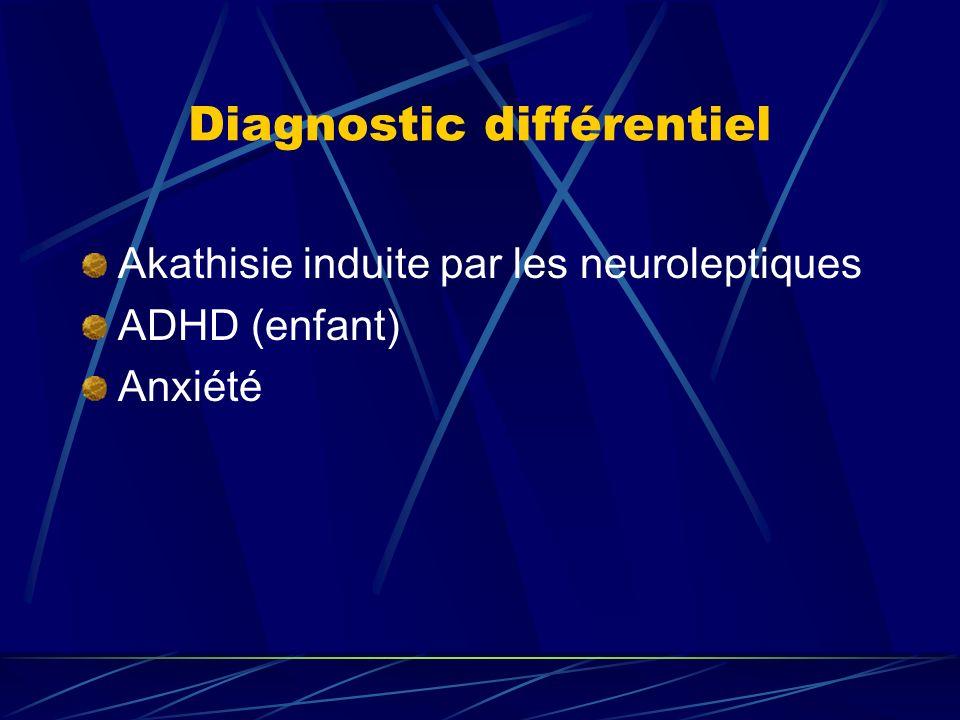 Diagnostic différentiel Akathisie induite par les neuroleptiques ADHD (enfant) Anxiété