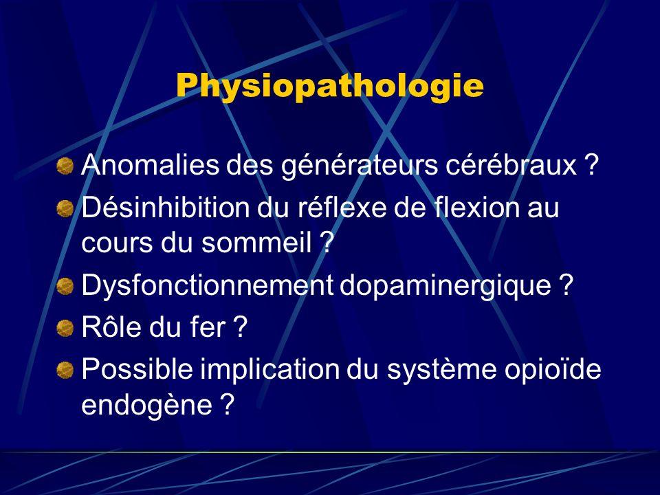 Physiopathologie Anomalies des générateurs cérébraux ? Désinhibition du réflexe de flexion au cours du sommeil ? Dysfonctionnement dopaminergique ? Rô
