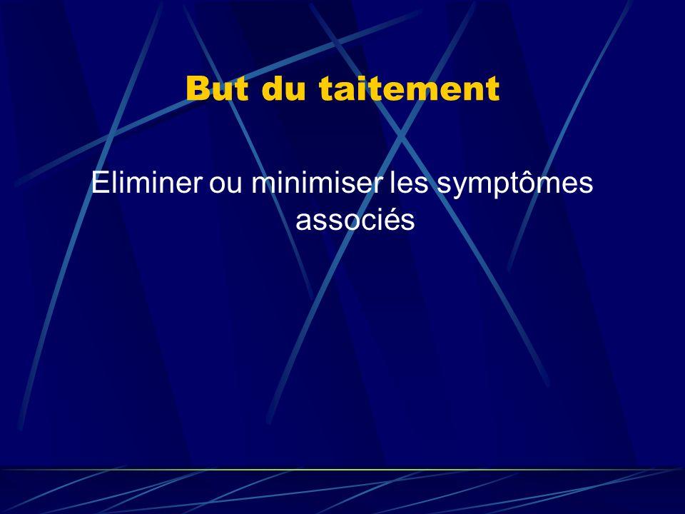 But du taitement Eliminer ou minimiser les symptômes associés