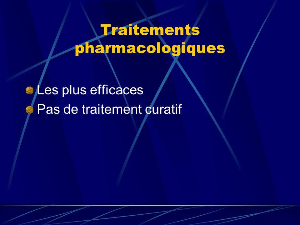 Traitements pharmacologiques Les plus efficaces Pas de traitement curatif
