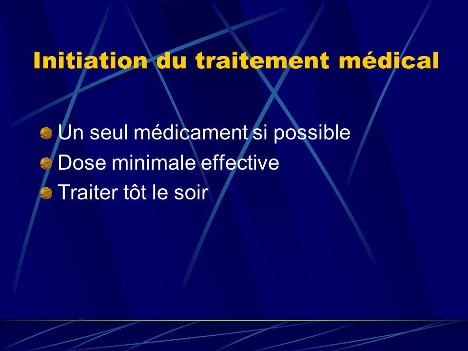 Initiation du traitement médical Un seul médicament si possible Dose minimale effective Traiter tôt le soir