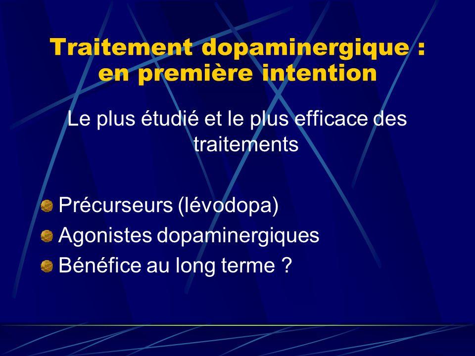 Traitement dopaminergique : en première intention Le plus étudié et le plus efficace des traitements Précurseurs (lévodopa) Agonistes dopaminergiques