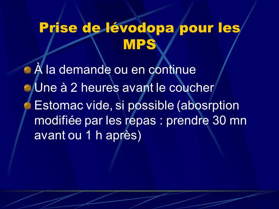 Prise de lévodopa pour les MPS À la demande ou en continue Une à 2 heures avant le coucher Estomac vide, si possible (abosrption modifiée par les repa