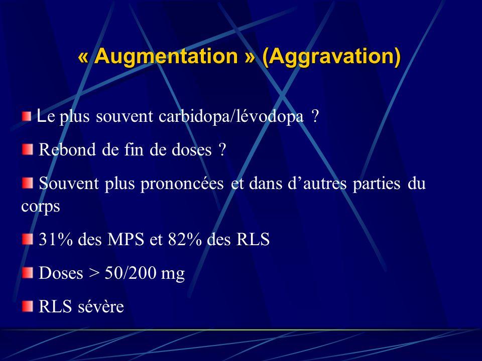 « Augmentation » (Aggravation) L e plus souvent carbidopa/lévodopa ? Rebond de fin de doses ? Souvent plus prononcées et dans dautres parties du corps