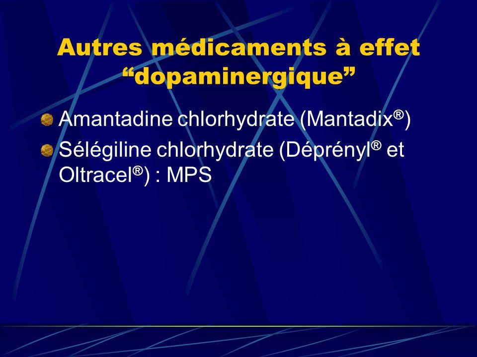 Autres médicaments à effet dopaminergique Amantadine chlorhydrate (Mantadix ® ) Sélégiline chlorhydrate (Déprényl ® et Oltracel ® ) : MPS