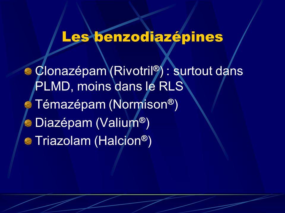 Les benzodiazépines Clonazépam (Rivotril ® ) : surtout dans PLMD, moins dans le RLS Témazépam (Normison ® ) Diazépam (Valium ® ) Triazolam (Halcion ®