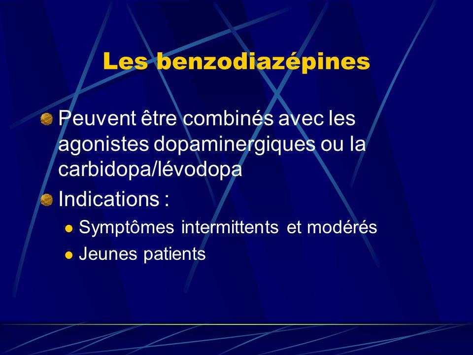 Les benzodiazépines Peuvent être combinés avec les agonistes dopaminergiques ou la carbidopa/lévodopa Indications : Symptômes intermittents et modérés