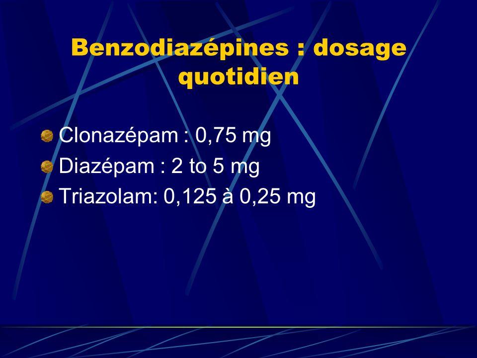 Benzodiazépines : dosage quotidien Clonazépam : 0,75 mg Diazépam : 2 to 5 mg Triazolam: 0,125 à 0,25 mg