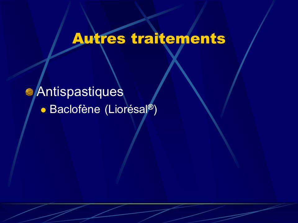Autres traitements Antispastiques Baclofène (Liorésal ® )