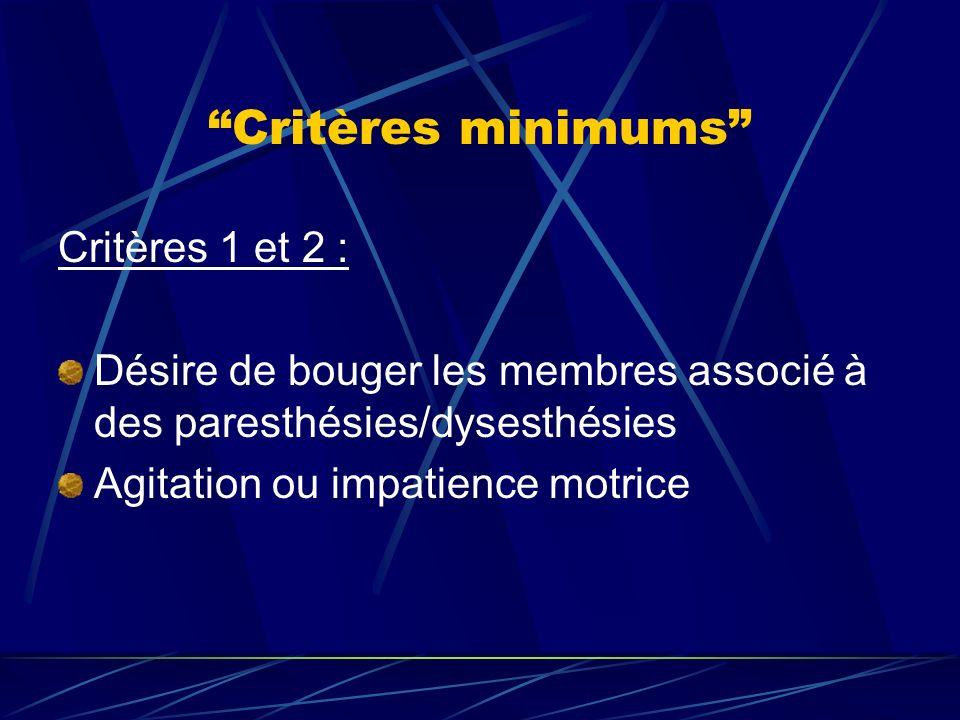 Critères minimums Critères 1 et 2 : Désire de bouger les membres associé à des paresthésies/dysesthésies Agitation ou impatience motrice