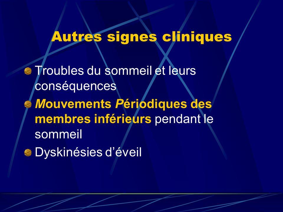 Autres signes cliniques Troubles du sommeil et leurs conséquences Mouvements Périodiques des membres inférieurs pendant le sommeil Dyskinésies déveil