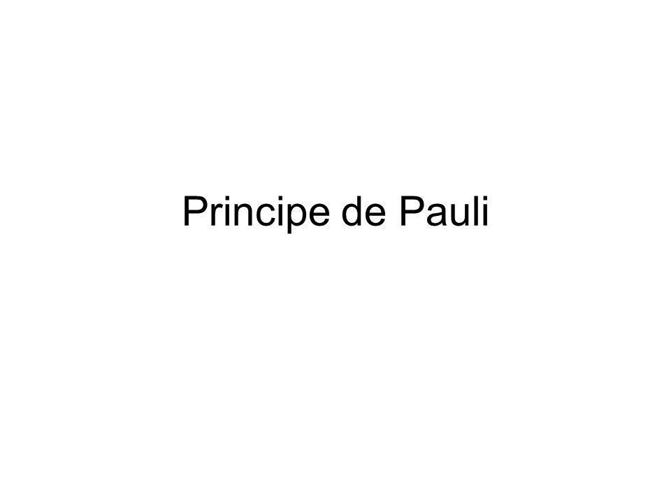 Principe de Pauli Pour Bosons: fonction donde symétrique Pour Fermions: fonction donde antisymétrique S A