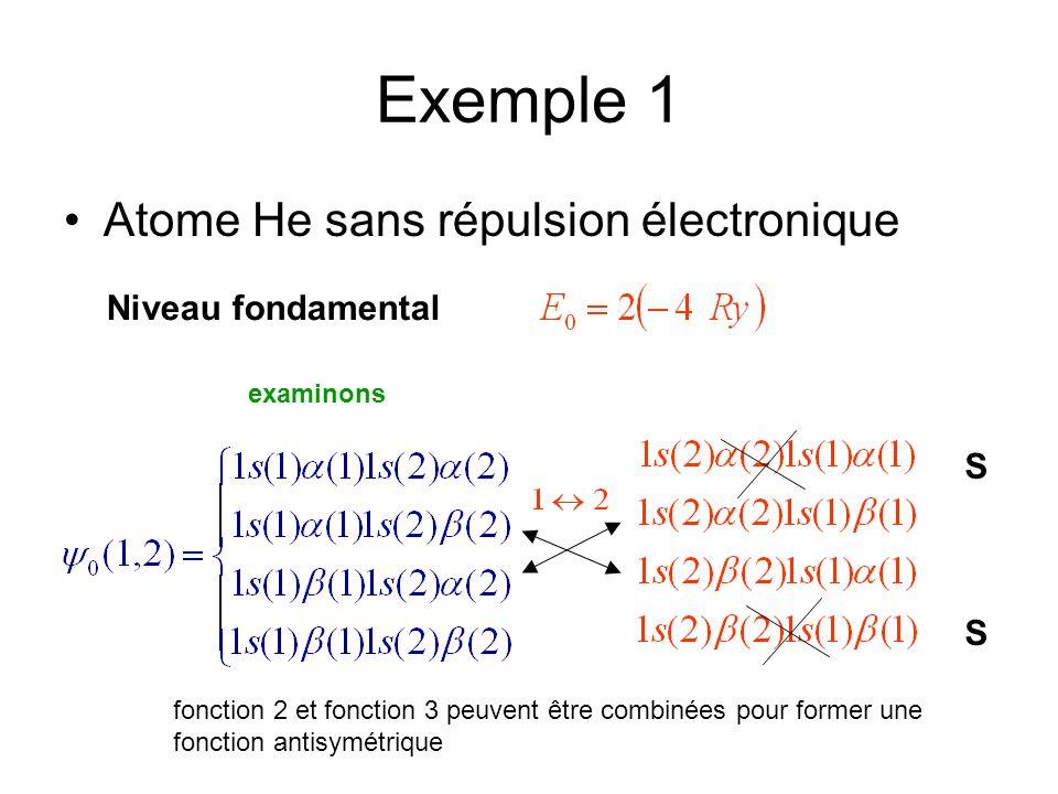 Exemple 1 Atome He sans répulsion électronique Niveau fondamental examinons S S fonction 2 et fonction 3 peuvent être combinées pour former une fonction antisymétrique