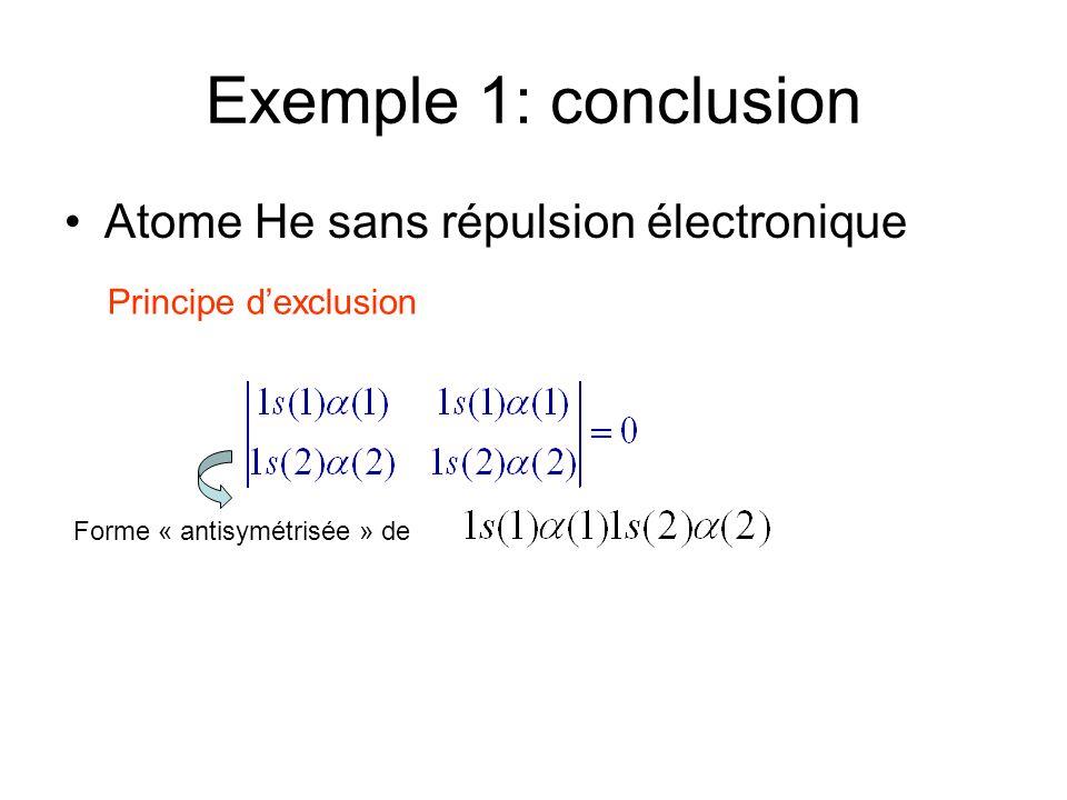 Exemple 1: conclusion Atome He sans répulsion électronique Principe dexclusion Forme « antisymétrisée » de