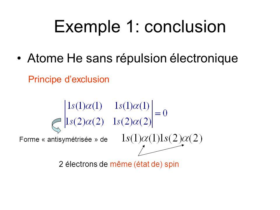 Exemple 1: conclusion Atome He sans répulsion électronique Principe dexclusion Forme « antisymétrisée » de 2 électrons de même (état de) spin