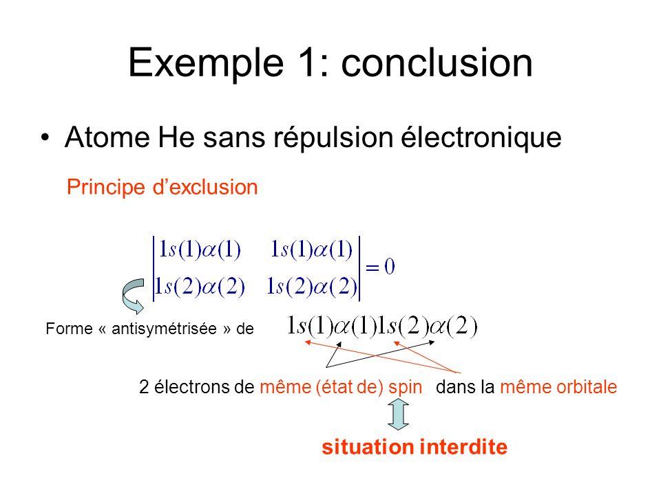 Exemple 1: conclusion Atome He sans répulsion électronique Principe dexclusion Forme « antisymétrisée » de 2 électrons de même (état de) spindans la m