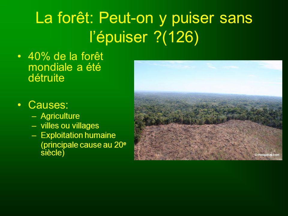 La forêt: Peut-on y puiser sans lépuiser ?(126) 40% de la forêt mondiale a été détruite Causes: –Agriculture –villes ou villages –Exploitation humaine
