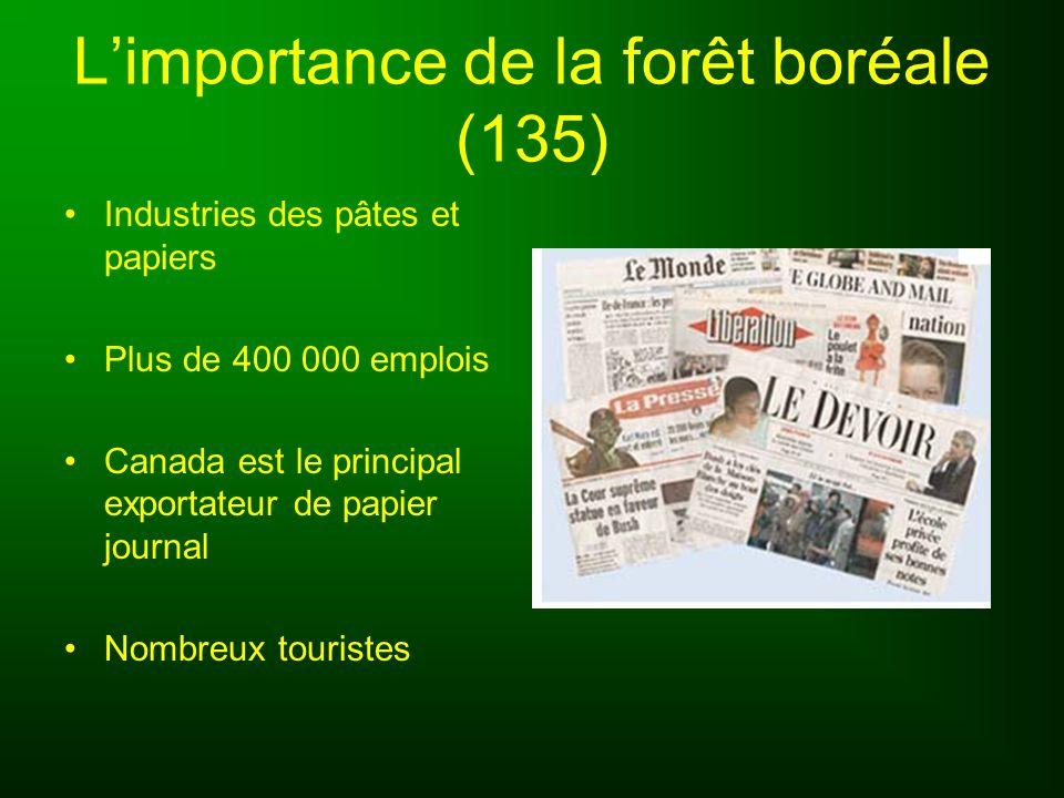 Limportance de la forêt boréale (135) Industries des pâtes et papiers Plus de 400 000 emplois Canada est le principal exportateur de papier journal No