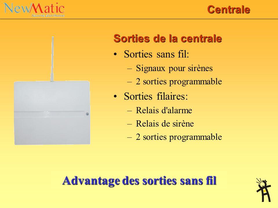 Les entrées centrale Zones sans fil: –16 zones de détection double(totalement 32 détecteurs sans fil) –8 claviers sans fil ou porte-clés –Entrée sirèn