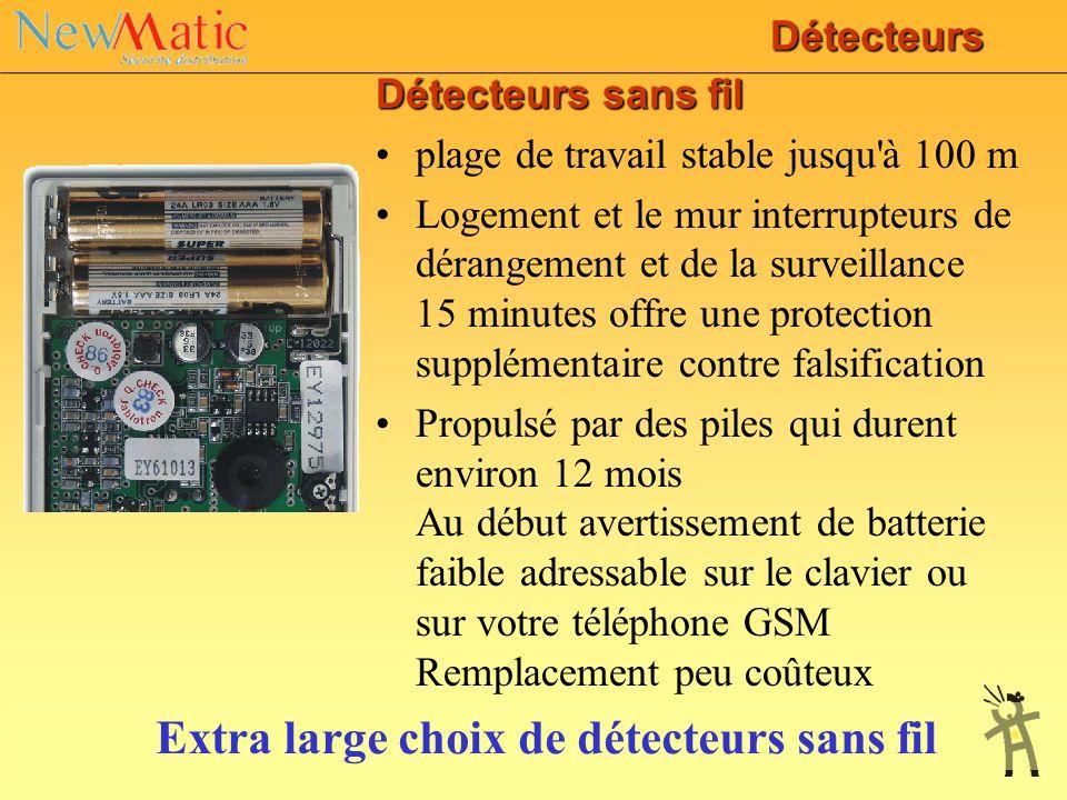 Détecteurs Ils permettent de détecter les intrusions et les incidents (détecteurs de mouvements, d'ouverture,de bris de glaces pour les intrusions; dé