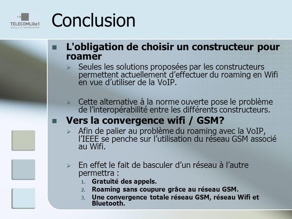 Conclusion L'obligation de choisir un constructeur pour roamer Seules les solutions proposées par les constructeurs permettent actuellement deffectuer