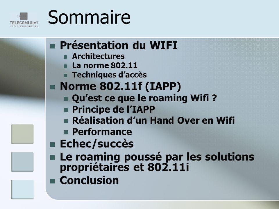 Sommaire Présentation du WIFI Architectures La norme 802.11 Techniques daccès Norme 802.11f (IAPP) Quest ce que le roaming Wifi ? Principe de lIAPP Ré