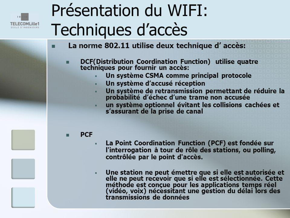 Présentation du WIFI: Techniques daccès La norme 802.11 utilise deux technique d accès: DCF(Distribution Coordination Function) utilise quatre techniques pour fournir un accès: Un système CSMA comme principal protocole Un système daccusé réception Un système de retransmission permettant de réduire la probabilité déchec dune trame non accusée un système optionnel évitant les collisions cachées et sassurant de la prise de canal PCF La Point Coordination Function (PCF) est fondée sur l interrogation à tour de rôle des stations, ou polling, contrôlée par le point d accès.