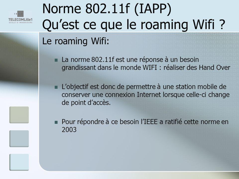 Norme 802.11f (IAPP) Quest ce que le roaming Wifi ? Le roaming Wifi: La norme 802.11f est une réponse à un besoin grandissant dans le monde WIFI : réa