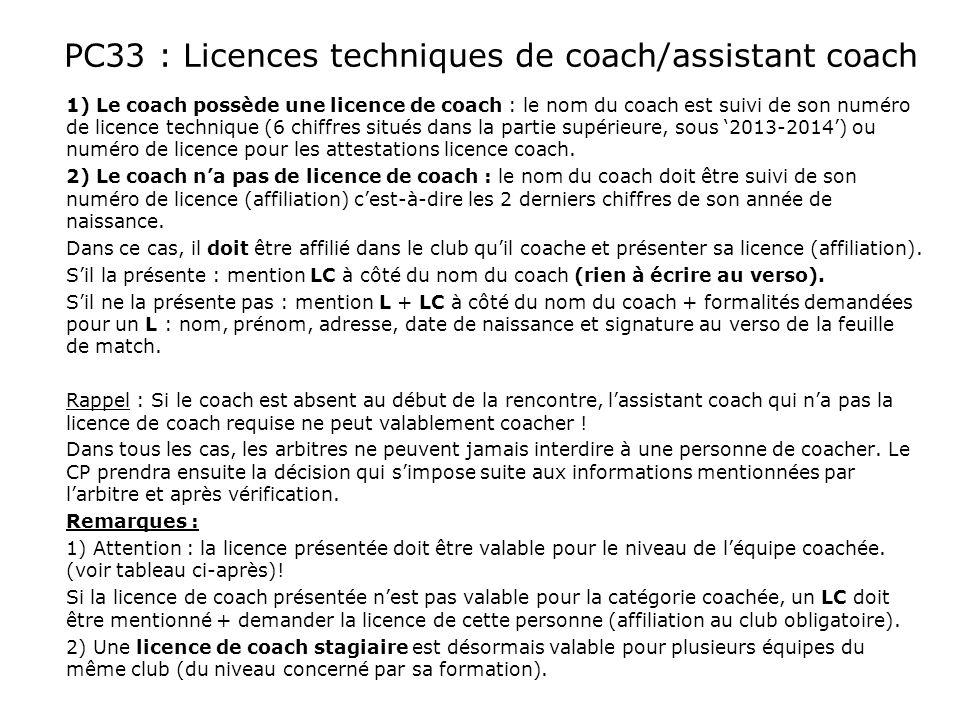 PC33 : Licences techniques de coach/assistant coach 1) Le coach possède une licence de coach : le nom du coach est suivi de son numéro de licence tech