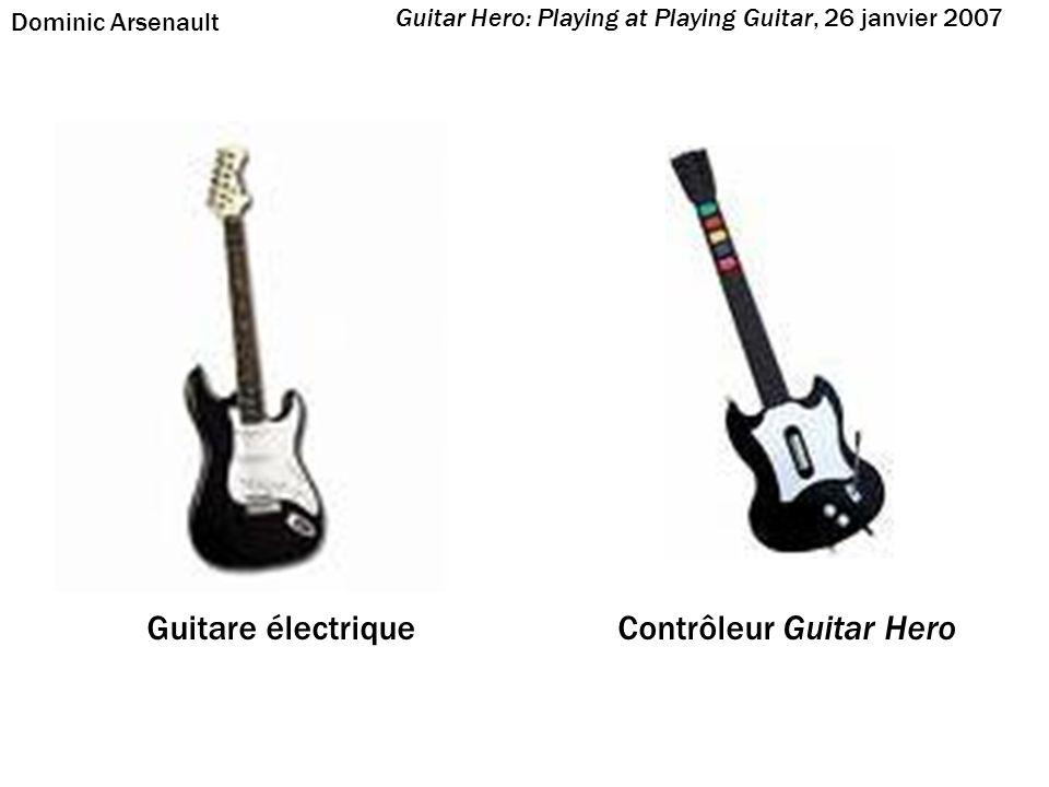 6 cordes 24 frets Possibilité de jouer une corde ouverte Hauteur absolue Pas de cordes (ou 1 seule virtuelle) 3, 4 ou 5 frets (émulées par les boutons) Impossible de jouer une corde ouverte Hauteur relative Guitare électrique Contrôleur Guitar Hero Guitar Hero: Playing at Playing Guitar, 26 janvier 2007 Dominic Arsenault