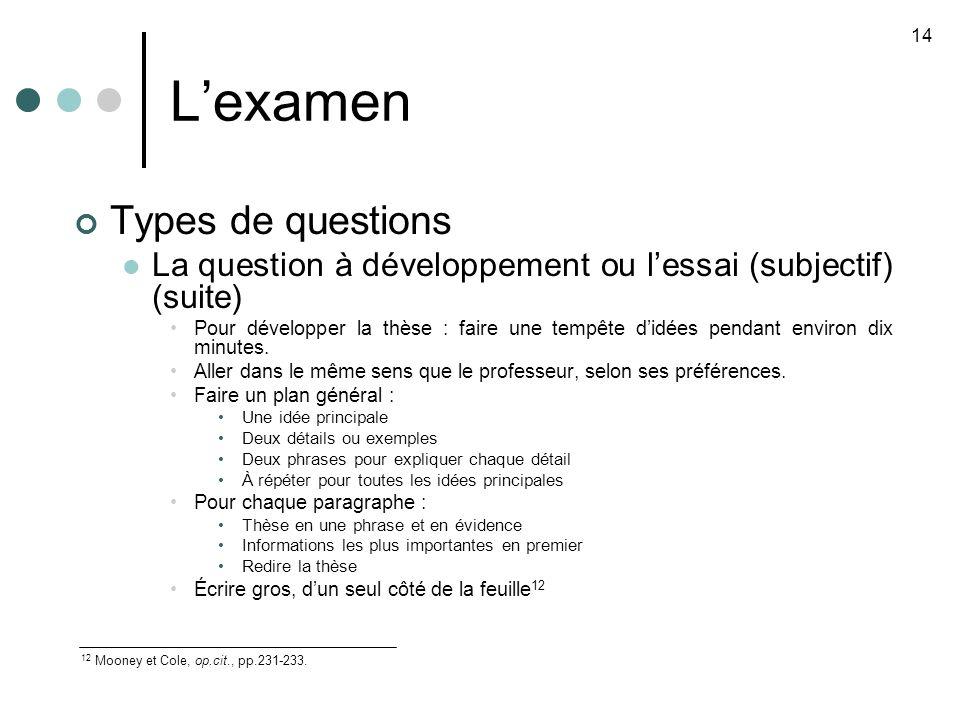 Lexamen Types de questions La question à développement ou lessai (subjectif) (suite) Pour développer la thèse : faire une tempête didées pendant environ dix minutes.