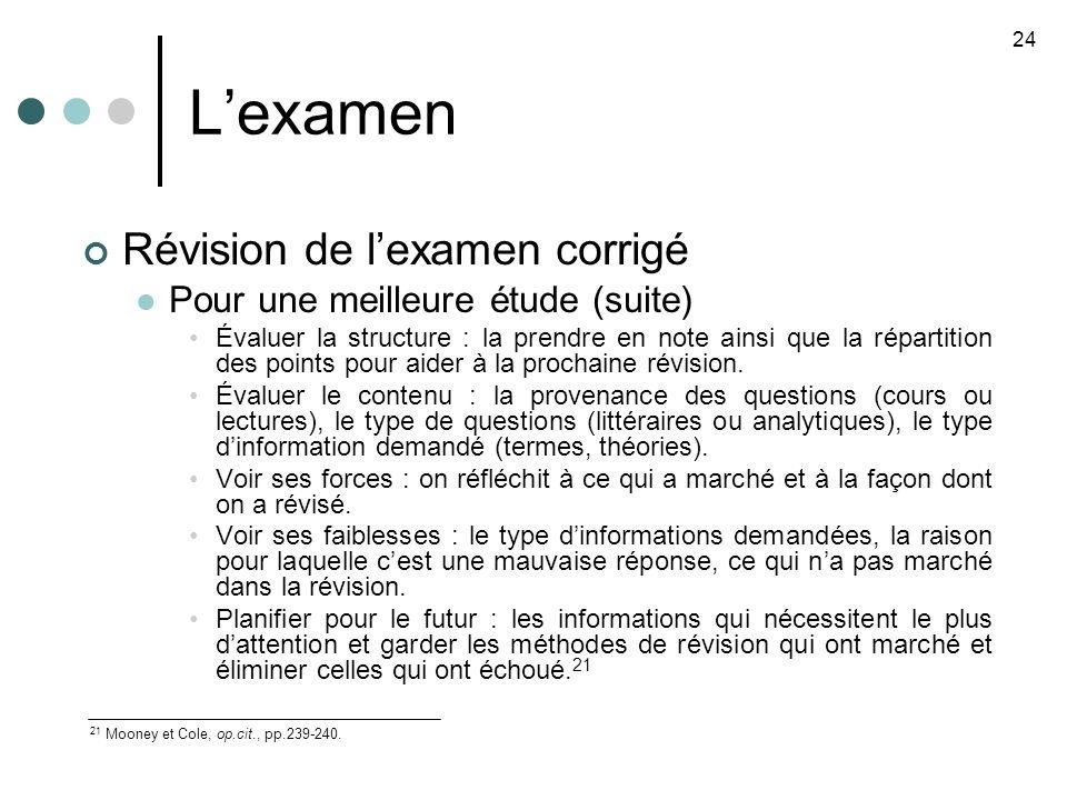 Lexamen Révision de lexamen corrigé Pour une meilleure étude (suite) Évaluer la structure : la prendre en note ainsi que la répartition des points pour aider à la prochaine révision.