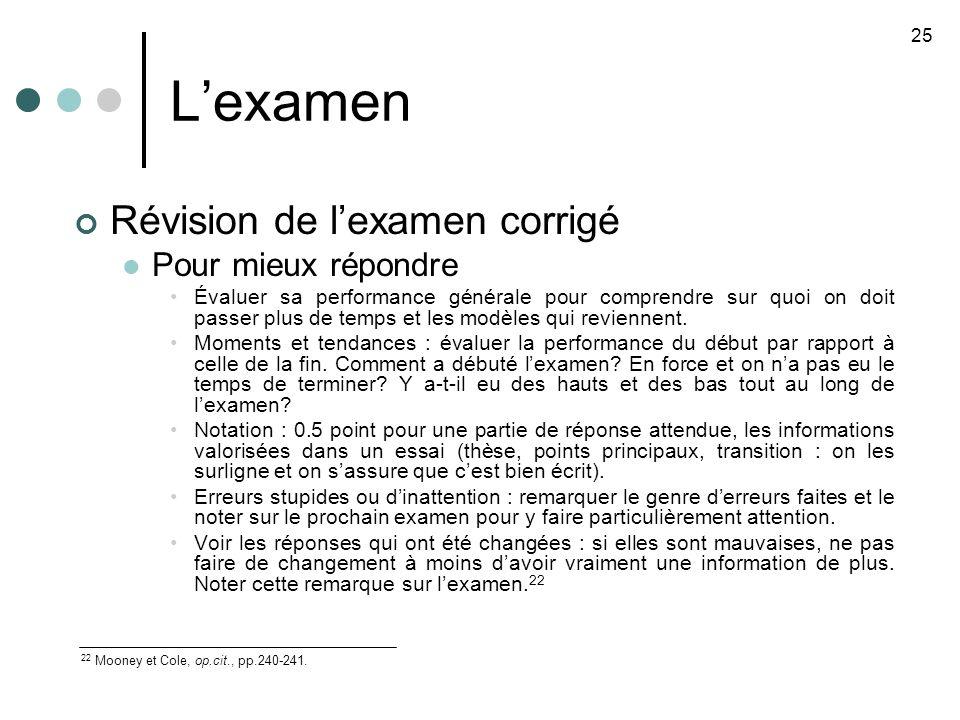 Lexamen Révision de lexamen corrigé Pour mieux répondre Évaluer sa performance générale pour comprendre sur quoi on doit passer plus de temps et les modèles qui reviennent.