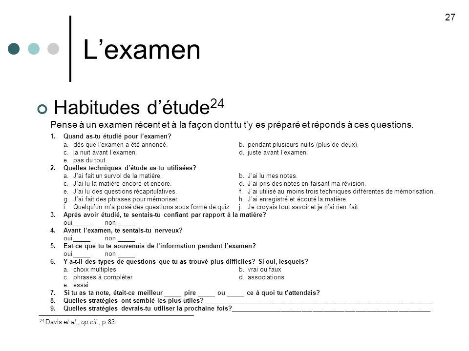 Lexamen Habitudes détude 24 Pense à un examen récent et à la façon dont tu ty es préparé et réponds à ces questions.