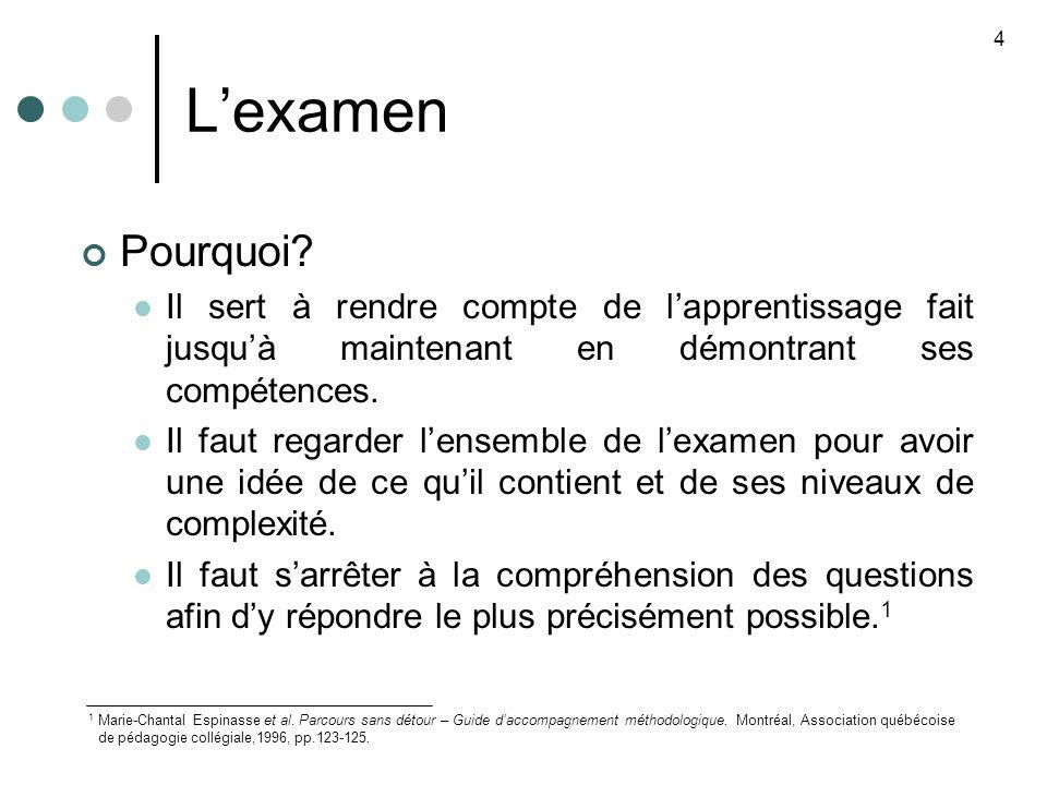 Lexamen Pourquoi.