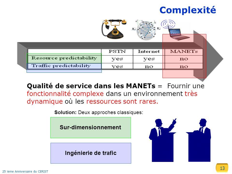 13 25 ieme Anniversaire du CERIST Complexité Qualité de service dans les MANETs = Fournir une fonctionnalité complexe dans un environnement très dynam