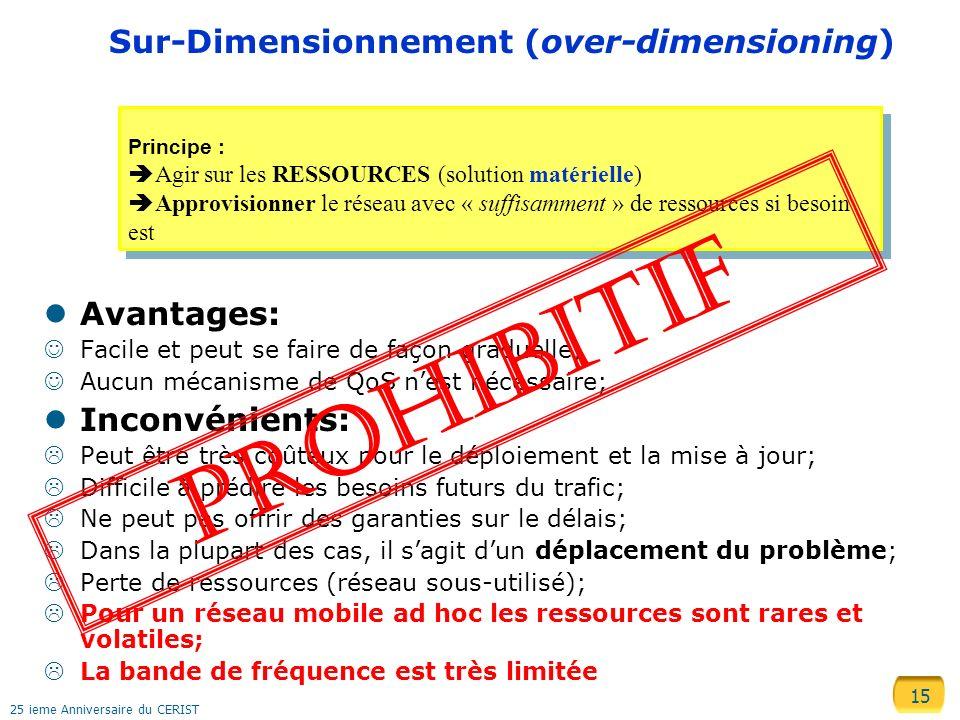15 25 ieme Anniversaire du CERIST Sur-Dimensionnement (over-dimensioning) Avantages: Facile et peut se faire de façon graduelle; Aucun mécanisme de Qo
