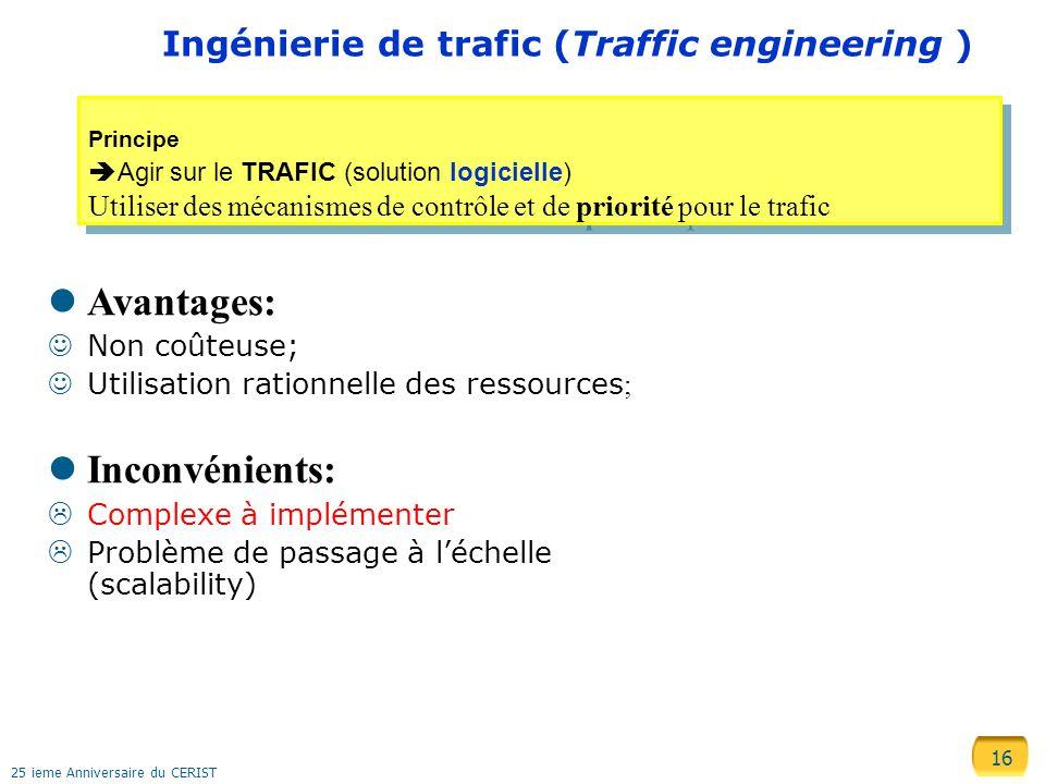 16 25 ieme Anniversaire du CERIST Ingénierie de trafic (Traffic engineering ) Principe Agir sur le TRAFIC (solution logicielle) Utiliser des mécanisme
