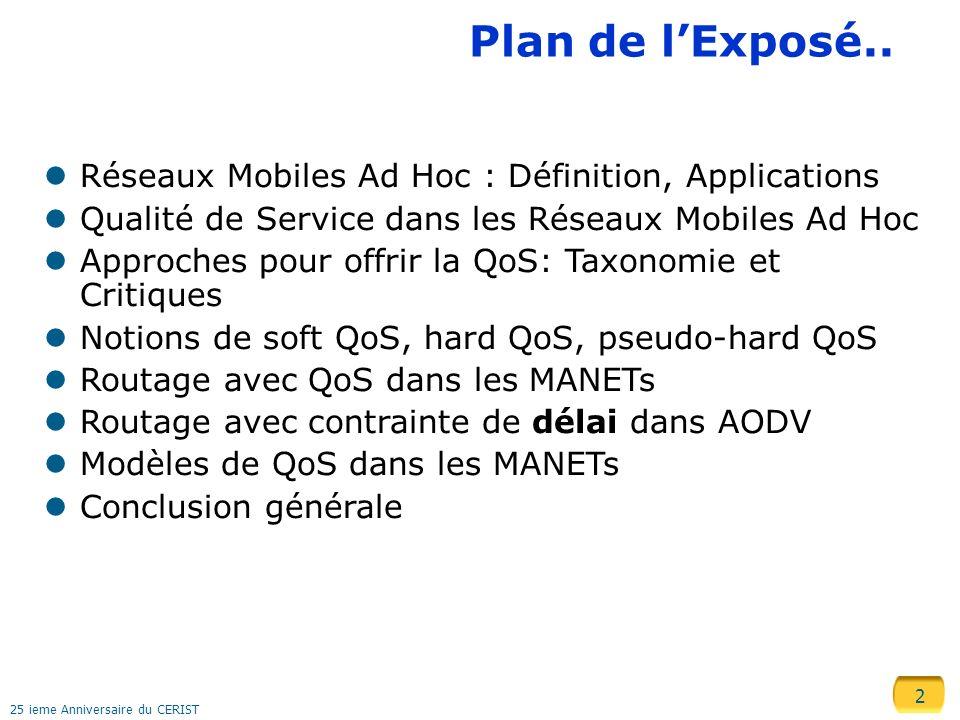 2 25 ieme Anniversaire du CERIST Plan de lExposé.. Réseaux Mobiles Ad Hoc : Définition, Applications Qualité de Service dans les Réseaux Mobiles Ad Ho