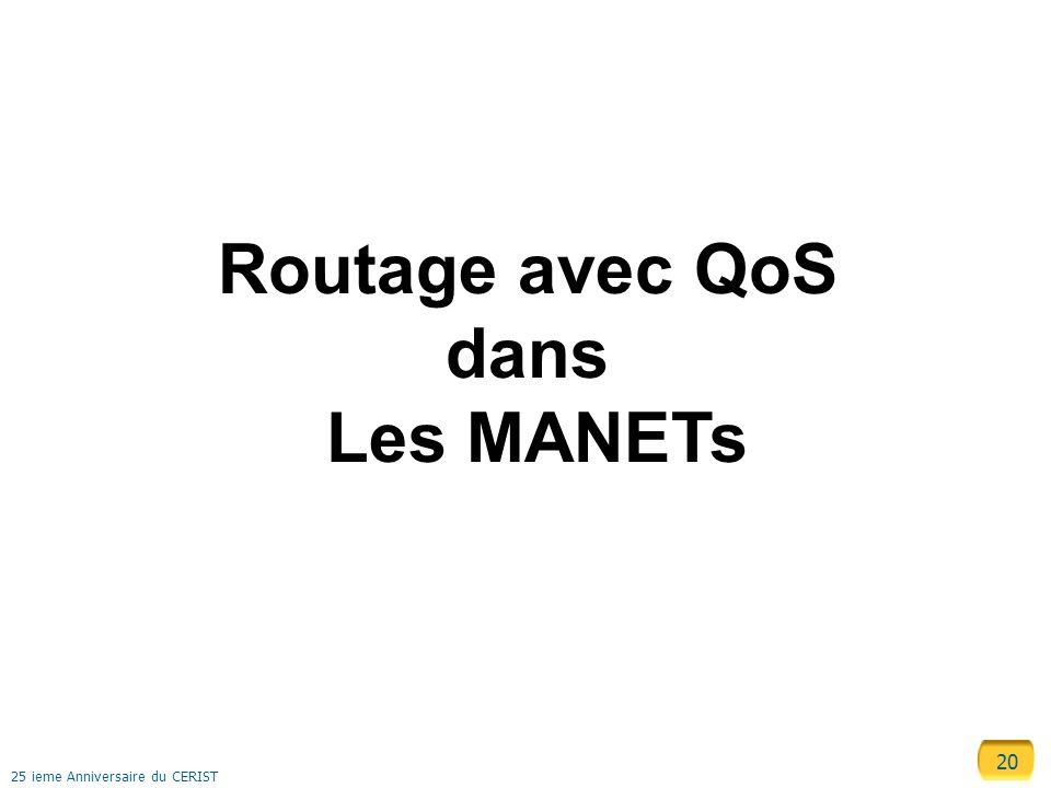 20 25 ieme Anniversaire du CERIST Routage avec QoS dans Les MANETs