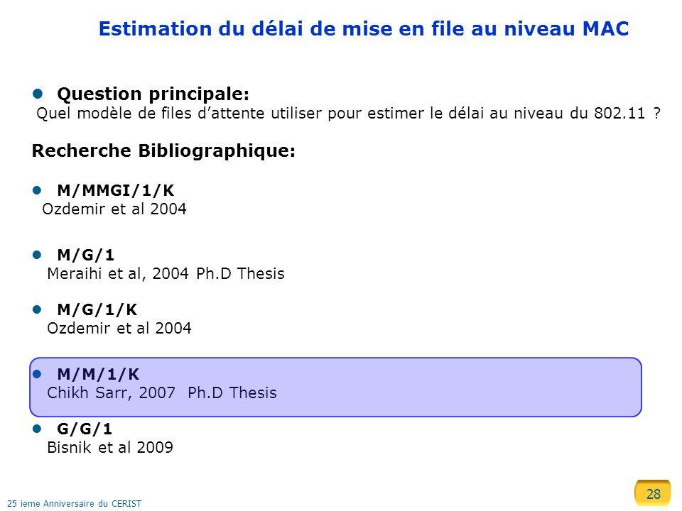 28 25 ieme Anniversaire du CERIST Estimation du délai de mise en file au niveau MAC Question principale: Quel modèle de files dattente utiliser pour e