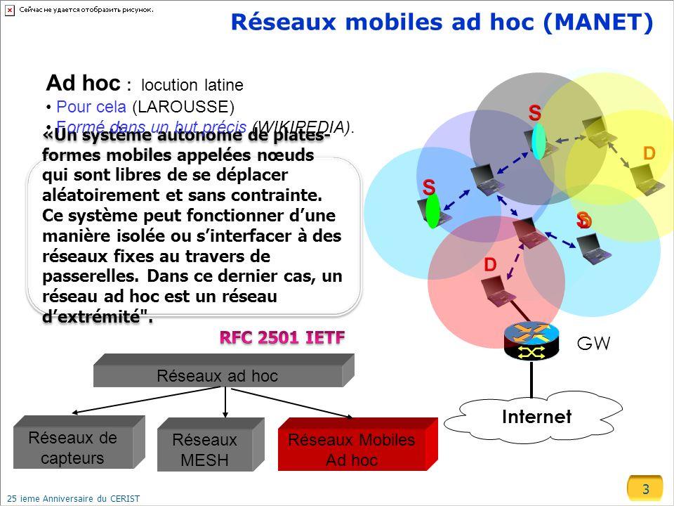 3 25 ieme Anniversaire du CERIST Réseaux mobiles ad hoc (MANET) GW Internet Réseaux Mobiles Ad hoc Réseaux MESH Réseaux de capteurs Réseaux ad hoc Ad